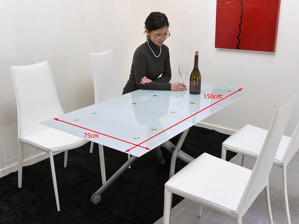 フロストガラス昇降式テーブル