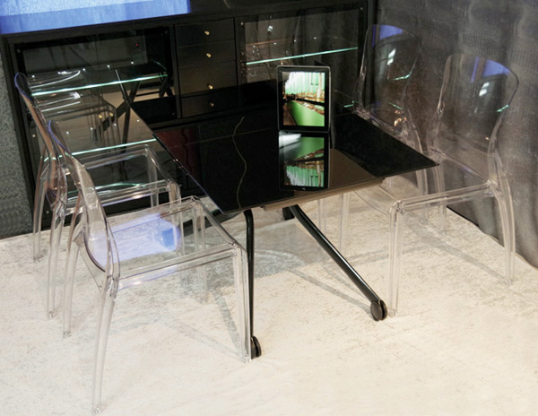 ブラック強化ガラス天板リフティングテーブル