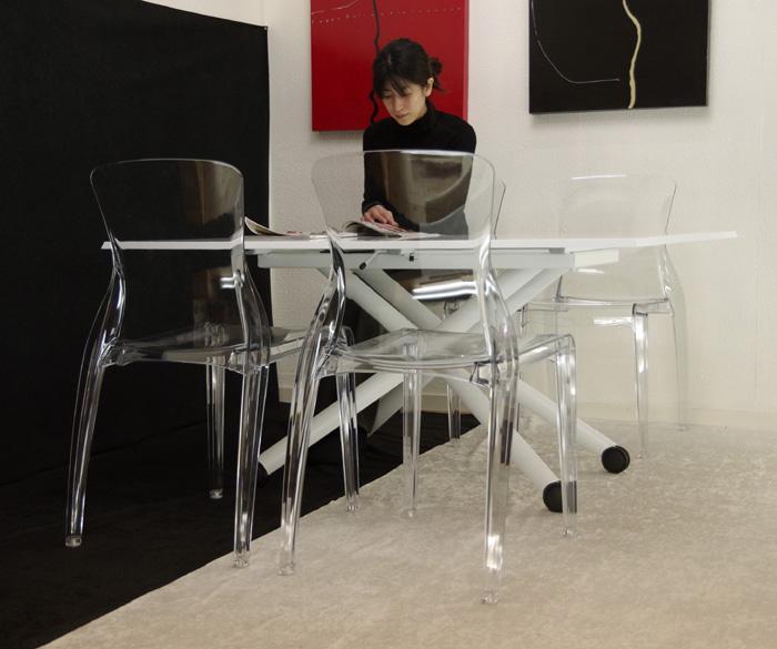 昇降式伸長式ダイニングテーブル