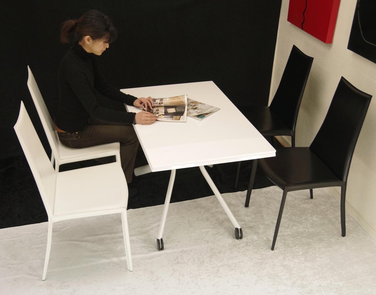白色昇降式伸長式テーブル