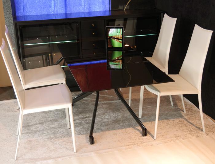 黒ガラス伸長昇降式テーブルチェアセット