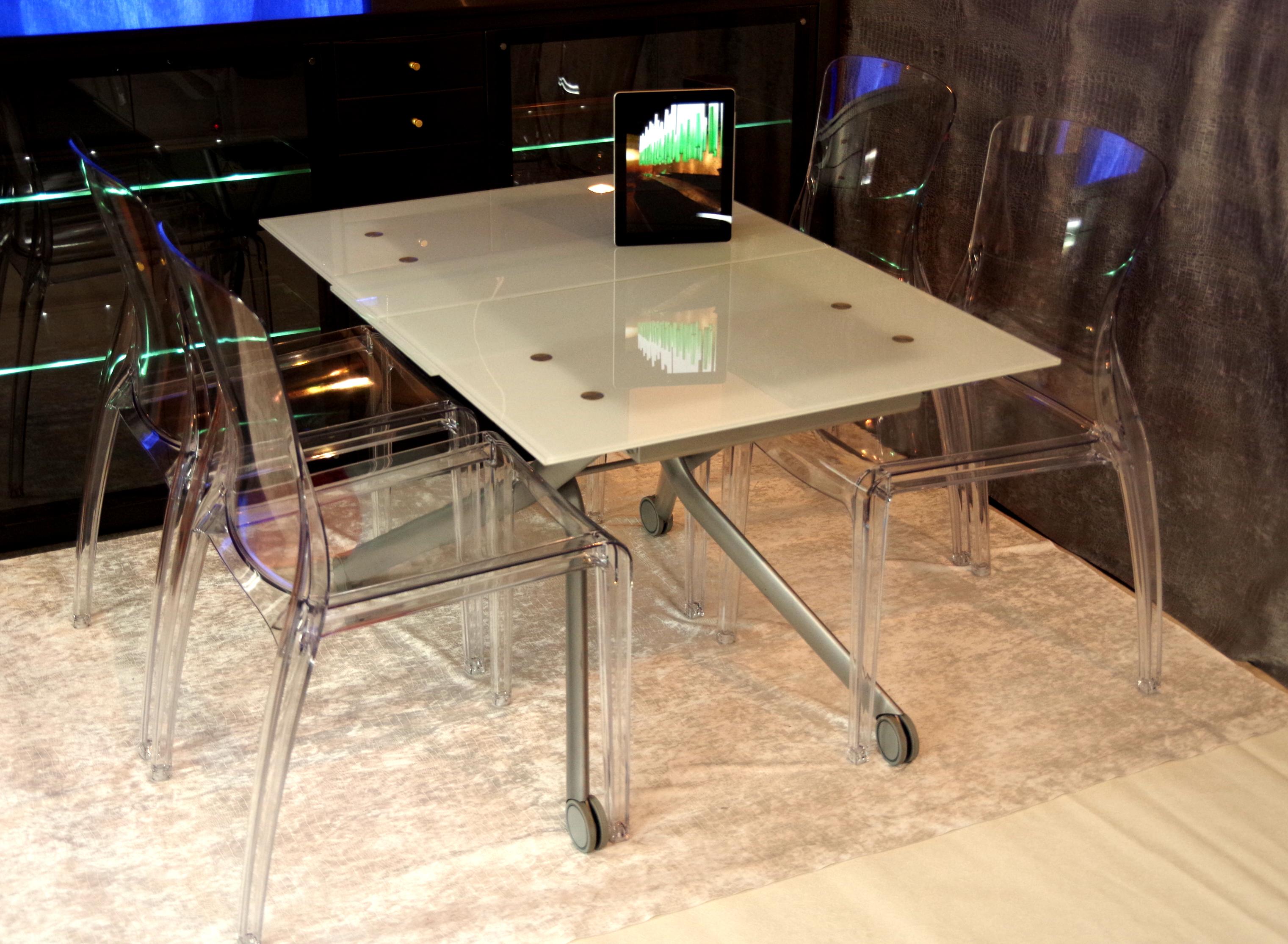 強化ガラス伸長昇降テーブルいすセット