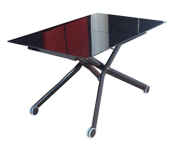 ブラックガラス昇降式テーブル